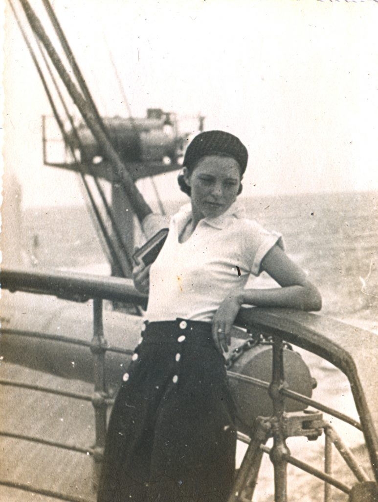 Nana on ship deck